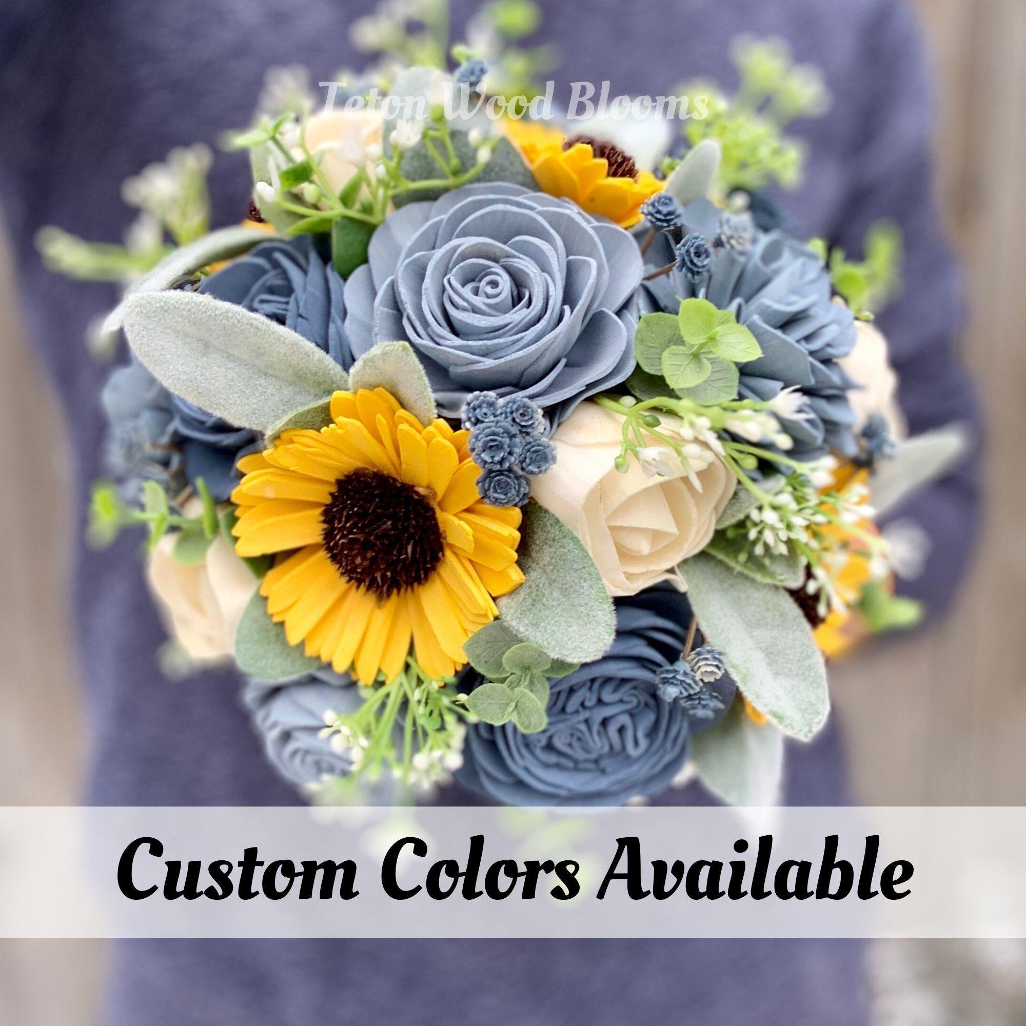 Wood Flower Sunflower with Dusty & Slate Blue Wedding