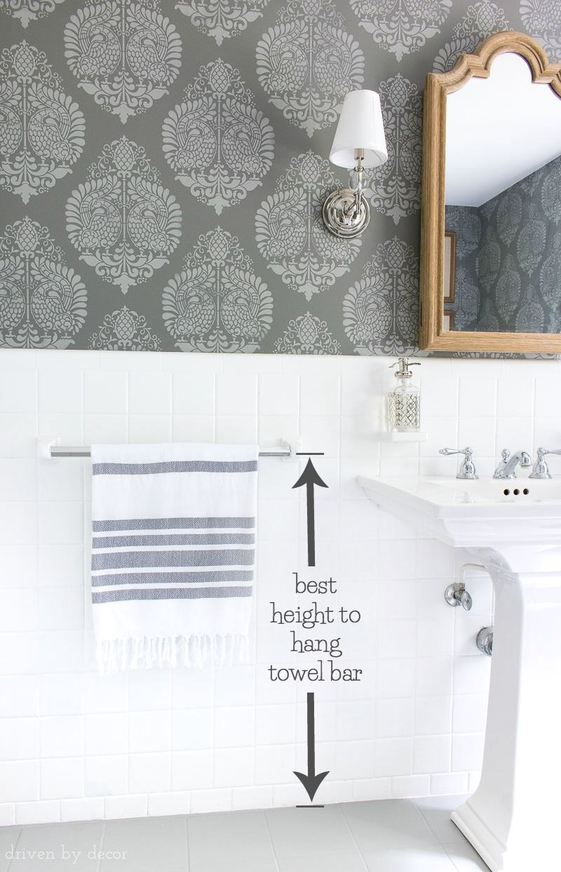 Must Have Measurements For Your Bathroom How High To Hang Your Towel Bar Sconces Toilet Paper Holder More Driven By Decor Bathroom Towel Bar Hang Towels In Bathroom Bathroom Towel