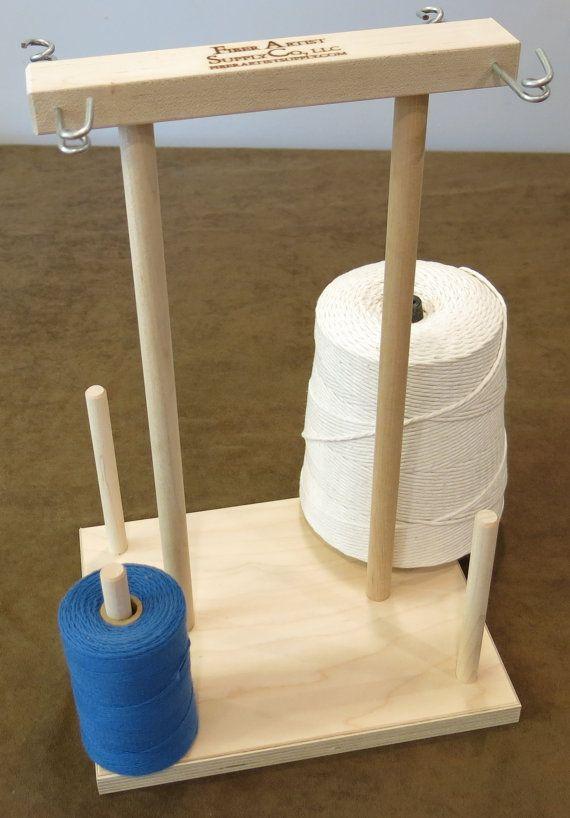 Unfinished 4 Spool Maple Weavers' Yarn Cone Holder #diyyarnholder