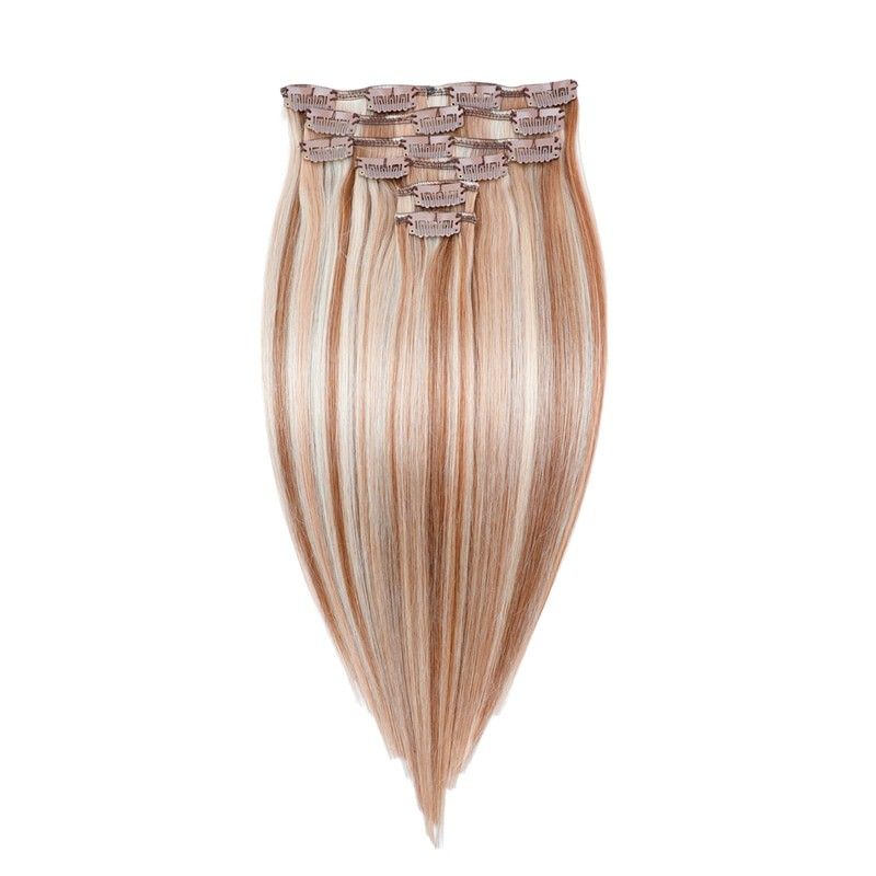 Highlights Blonde Straight Clip-In Remy Human Hair Extensions Set #humanhairextensions