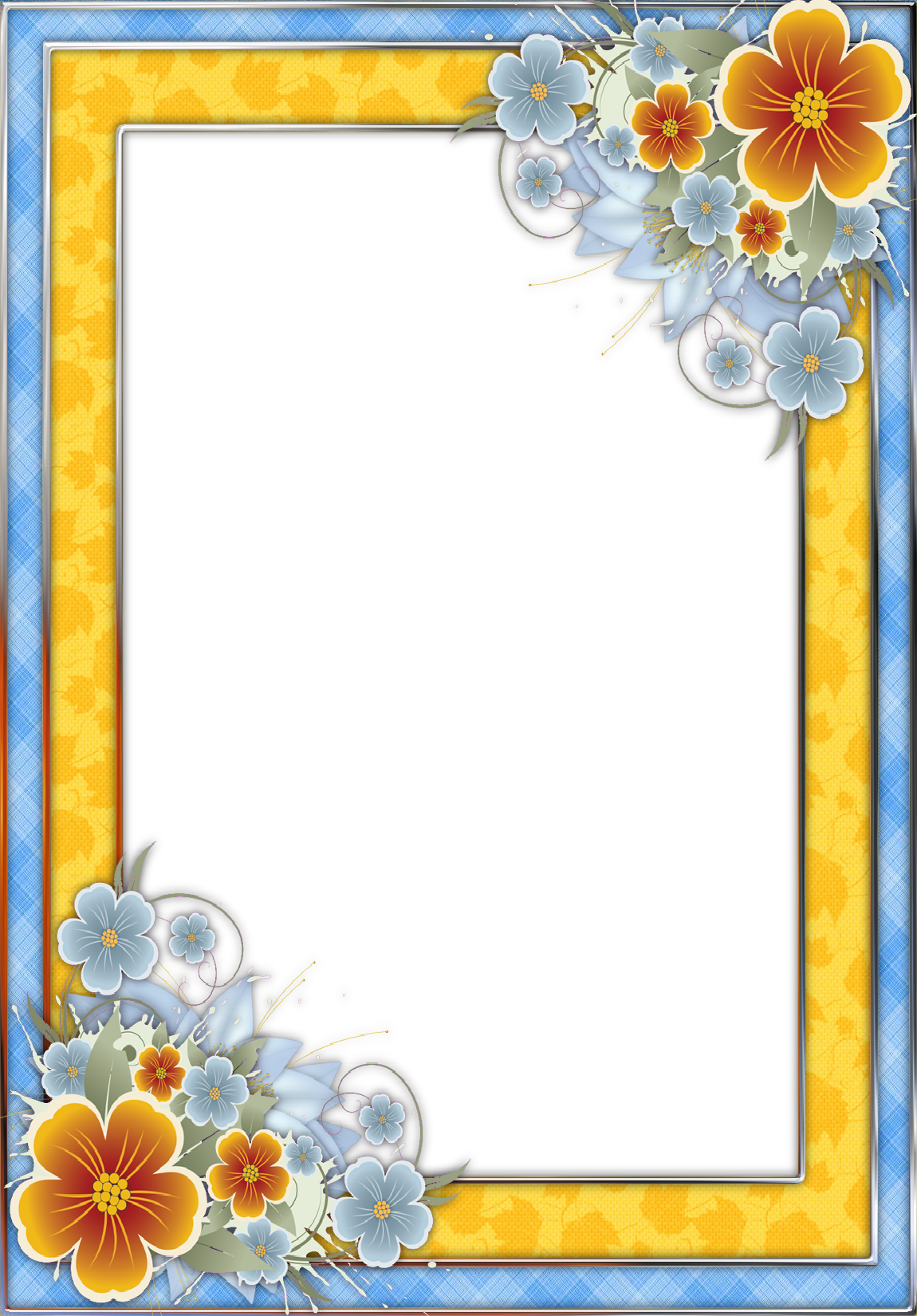 Blue and Yellow Transparent PNG Frame with Flowers
