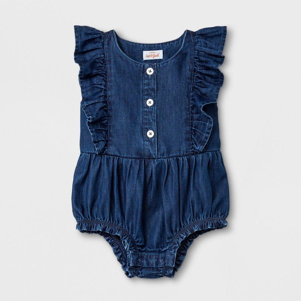 85a3af1411d8 Baby Girls  Romper - Cat   Jack Medium Denim Wash 24M