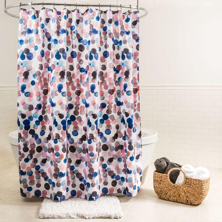 Multicolored Splash Dots Fabric Shower Curtain Pink Shower Curtains Fabric Shower Curtains Pink Showers