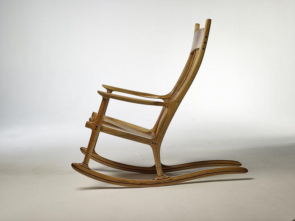 Sam Maloof Rocking Chair Replica European Walnut Rocking Chair