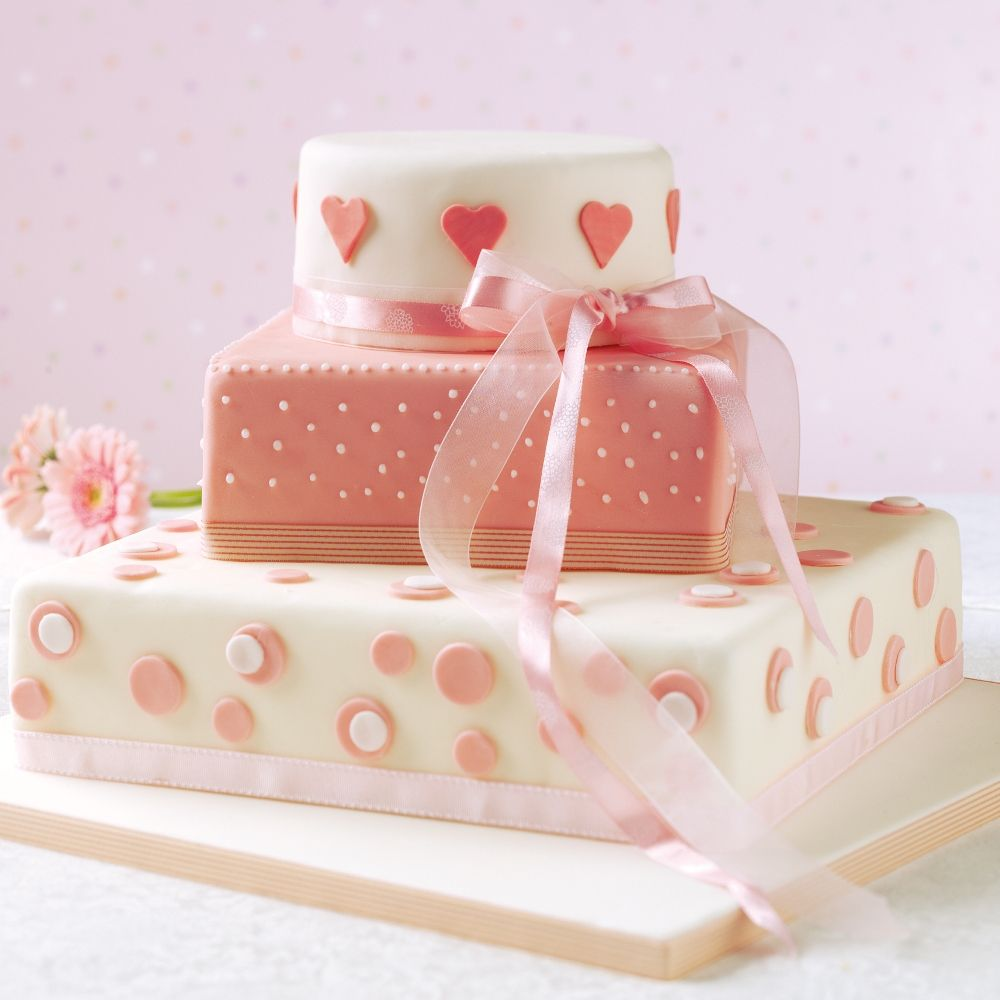 Three tier sponge wedding cake | Recipe | Pink Food and Valentines ...