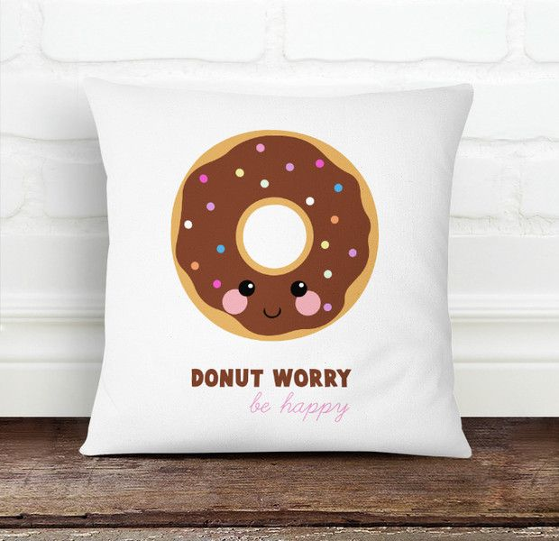 Donut Worry Be Happy Pillow Cover from Decorart Design by DaWanda.com