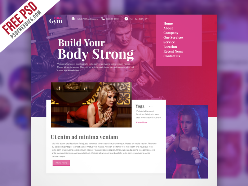 Sports and Fitness Website Template Free PSD | Psd templates and ...