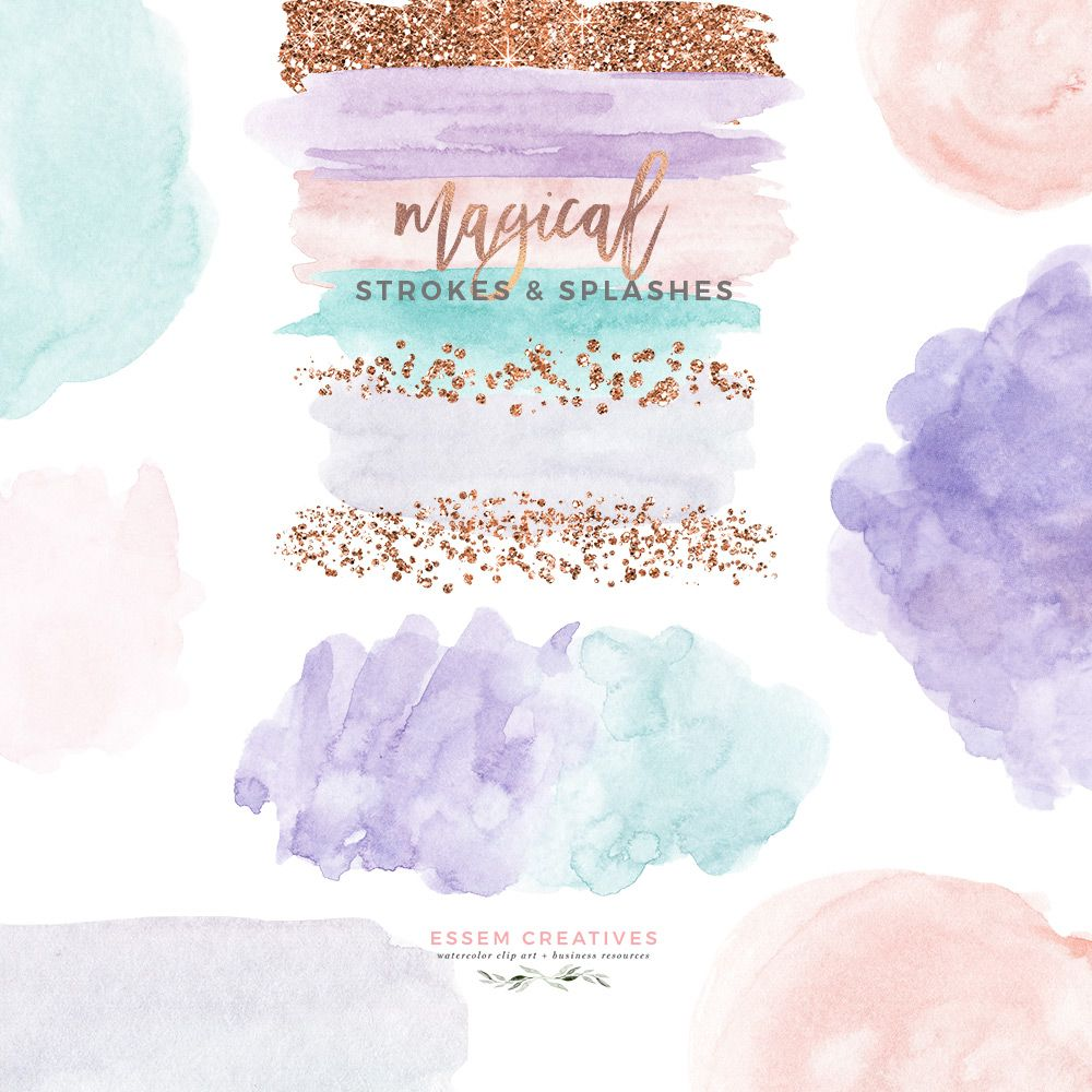 Watercolor Brush Strokes Clipart Rose Gold Glitter Splash Paint