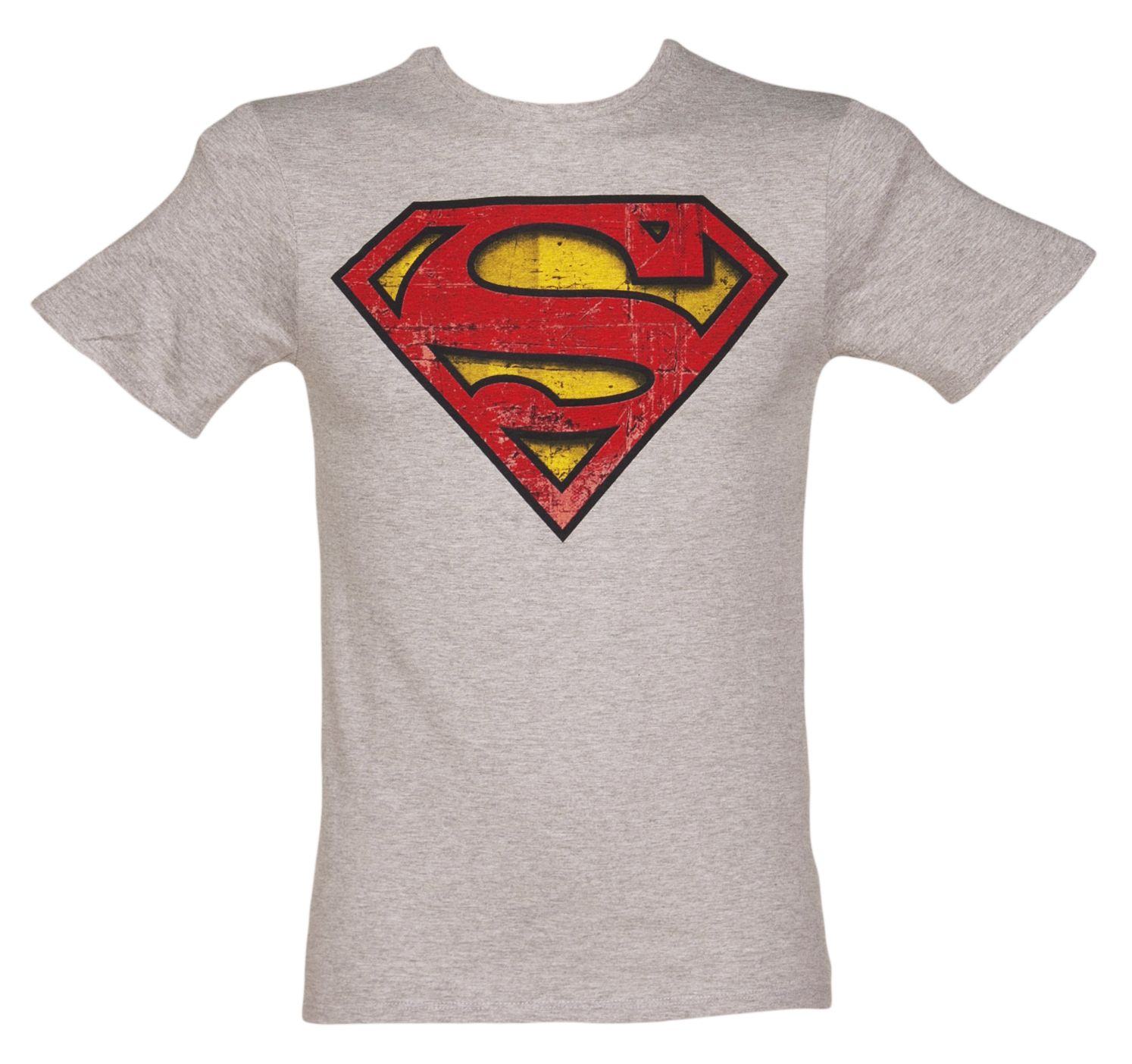 Mens Grey Marl Distressed Superman Logo T Shirt Xoxo T Shirts