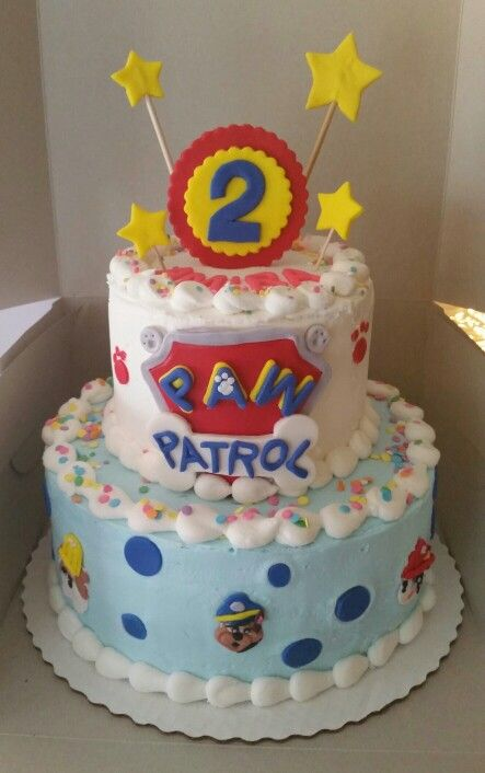 Paw Patrol birthday cake! Buttercream icing with fondant ...