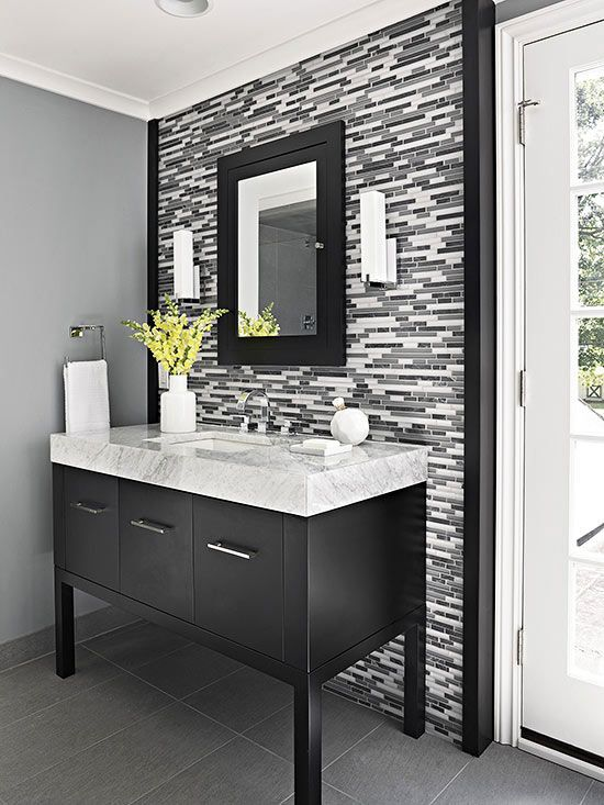 Single Vanity Design Ideas. Black And White Bathroom ...