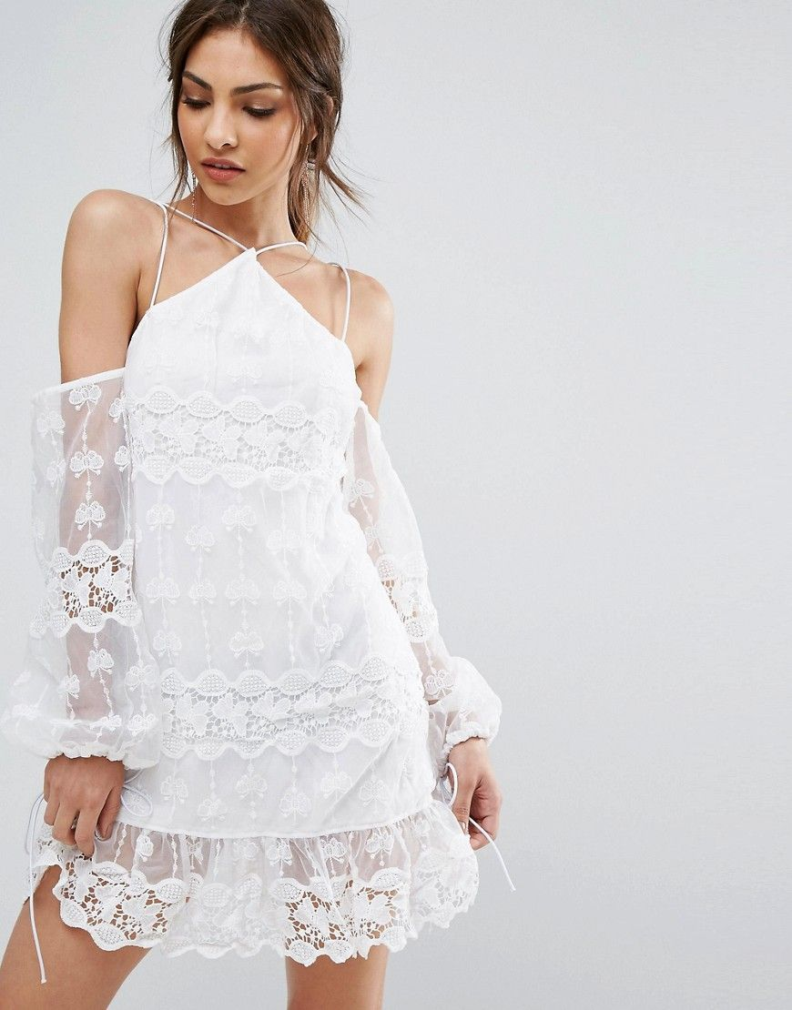 02285106c9 Get this PrettyLittleThing s cotton dress now! Click for more details.  Worldwide shipping. PrettyLittleThing Cold Shoulder Lace Dress - White   Dress by ...