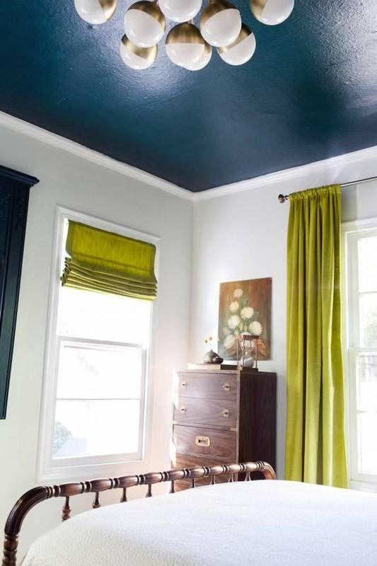 White Bedroom Dark Blue Ceiling Blue Ceilings Colored Ceiling