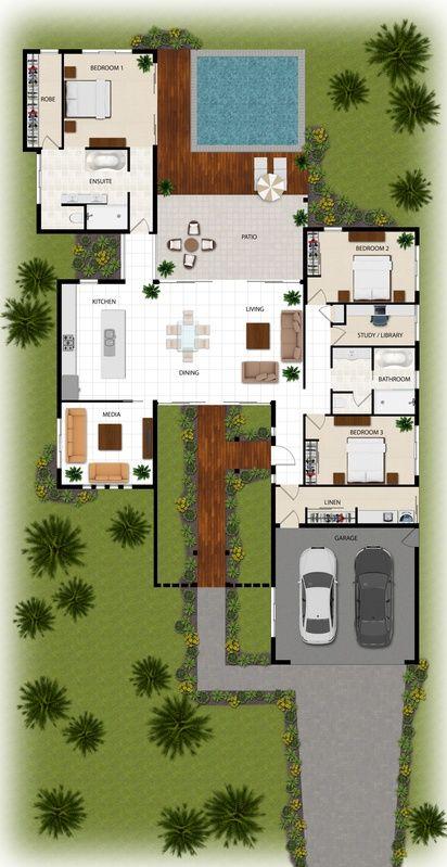 2d Colour Floor Plan For A Building Company Manunda Qld Sims House Plans House Blueprints Modern House Plans
