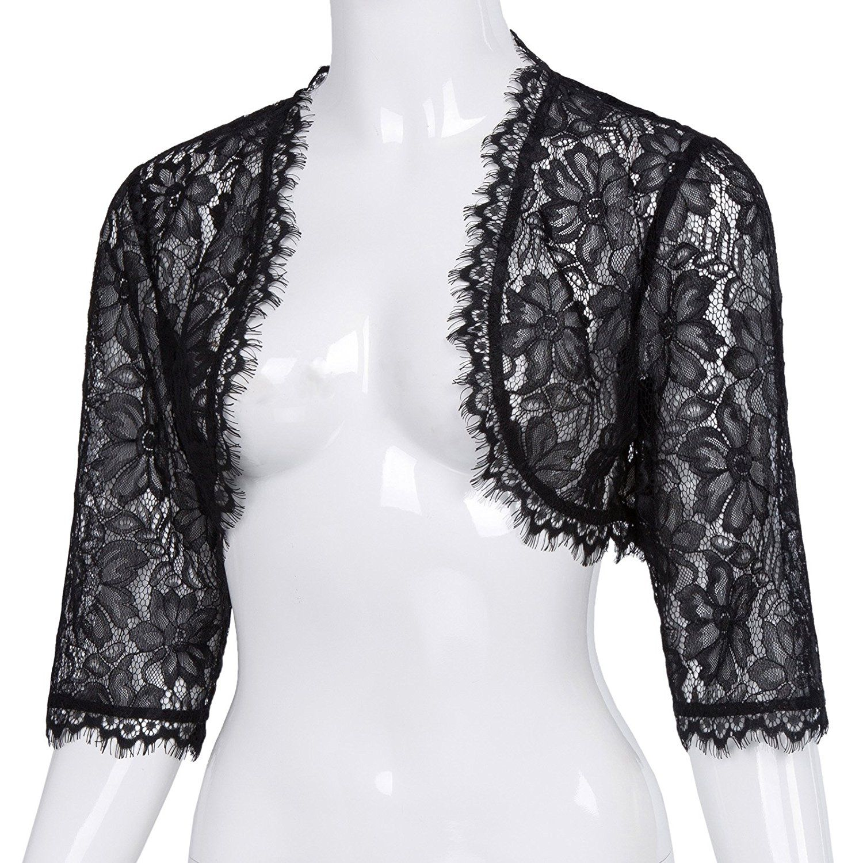 Vintage Dress Belle Poque Women s Long Sleeve Floral Lace Shrug Bolero  Cardigan f7a759e66