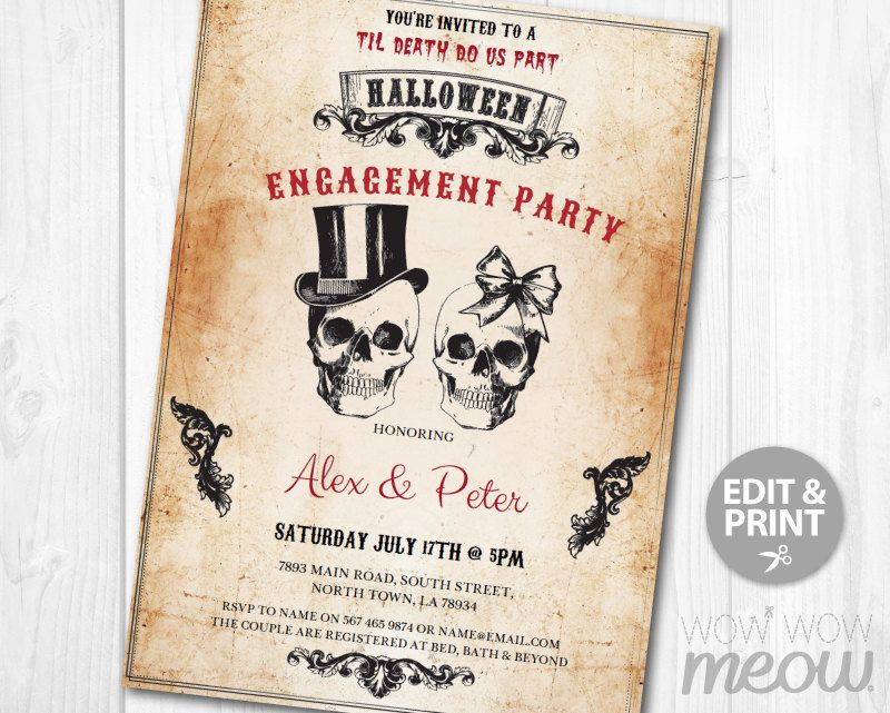 Halloween Engagement Party Invite Skull Couples by wowwowmeow | Punk ...