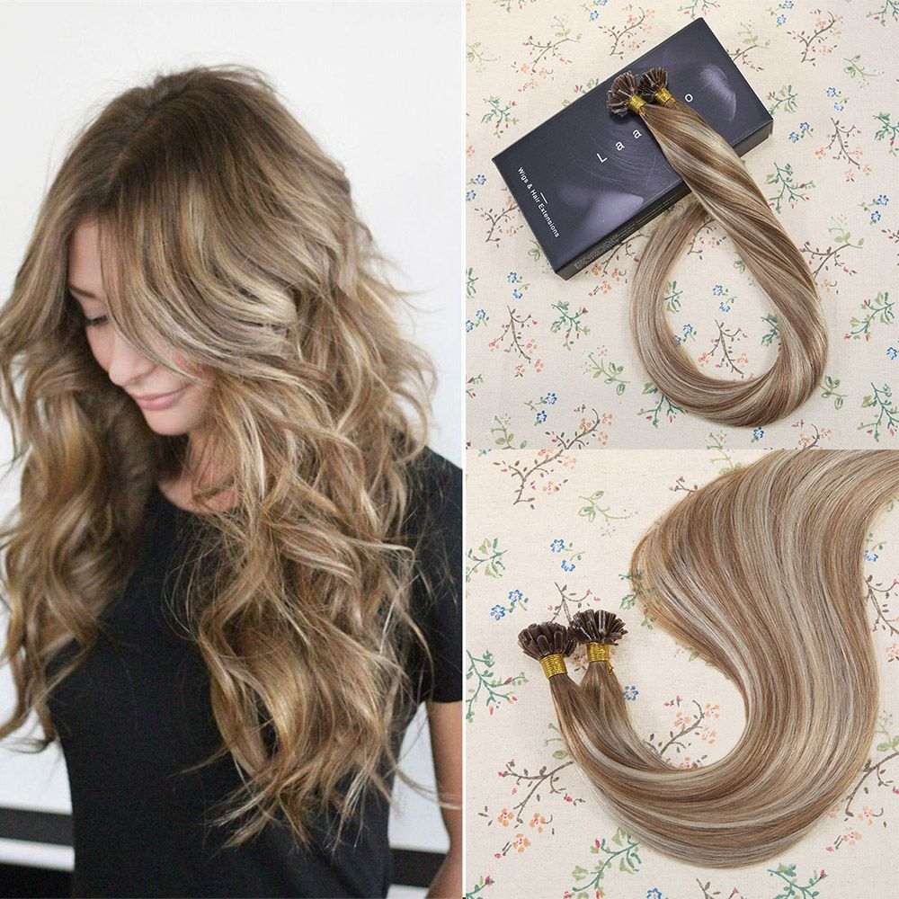 U Tip Pre Bonded Keratin Fusion Human Hair Extensions Brown