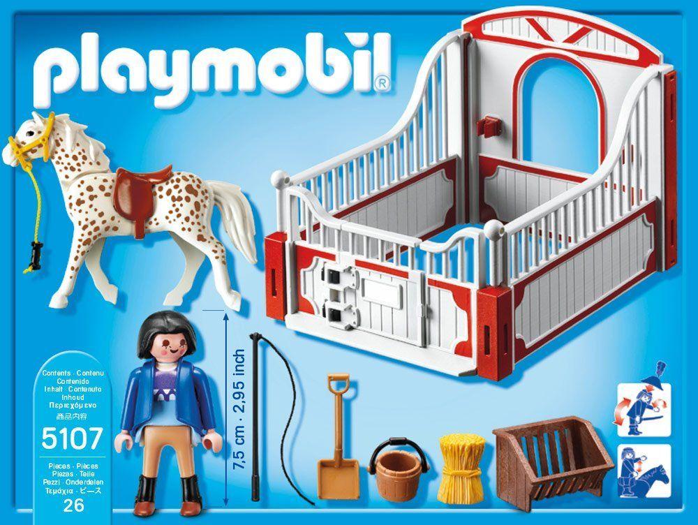 Playmobil 5107 Knabstrupper Mit Rot Grauer Pferdebox Amazon De Spielzeug Playmobil Pferdeboxen Play Mobile