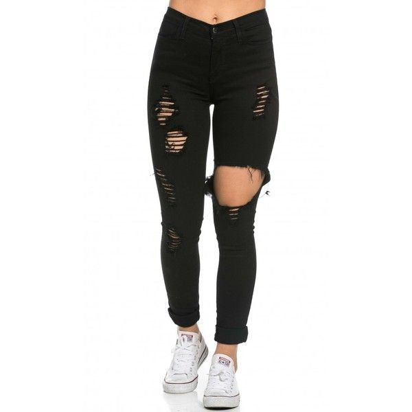 High Waisted Distressed Skinny Jeans in Black ($40) ❤ liked on Polyvore featuring jeans, bottoms, legs, pants, high waisted ripped skinny jeans, high waisted black skinny jeans, high waisted jeans, ripped jeans and high waisted ripped jeans
