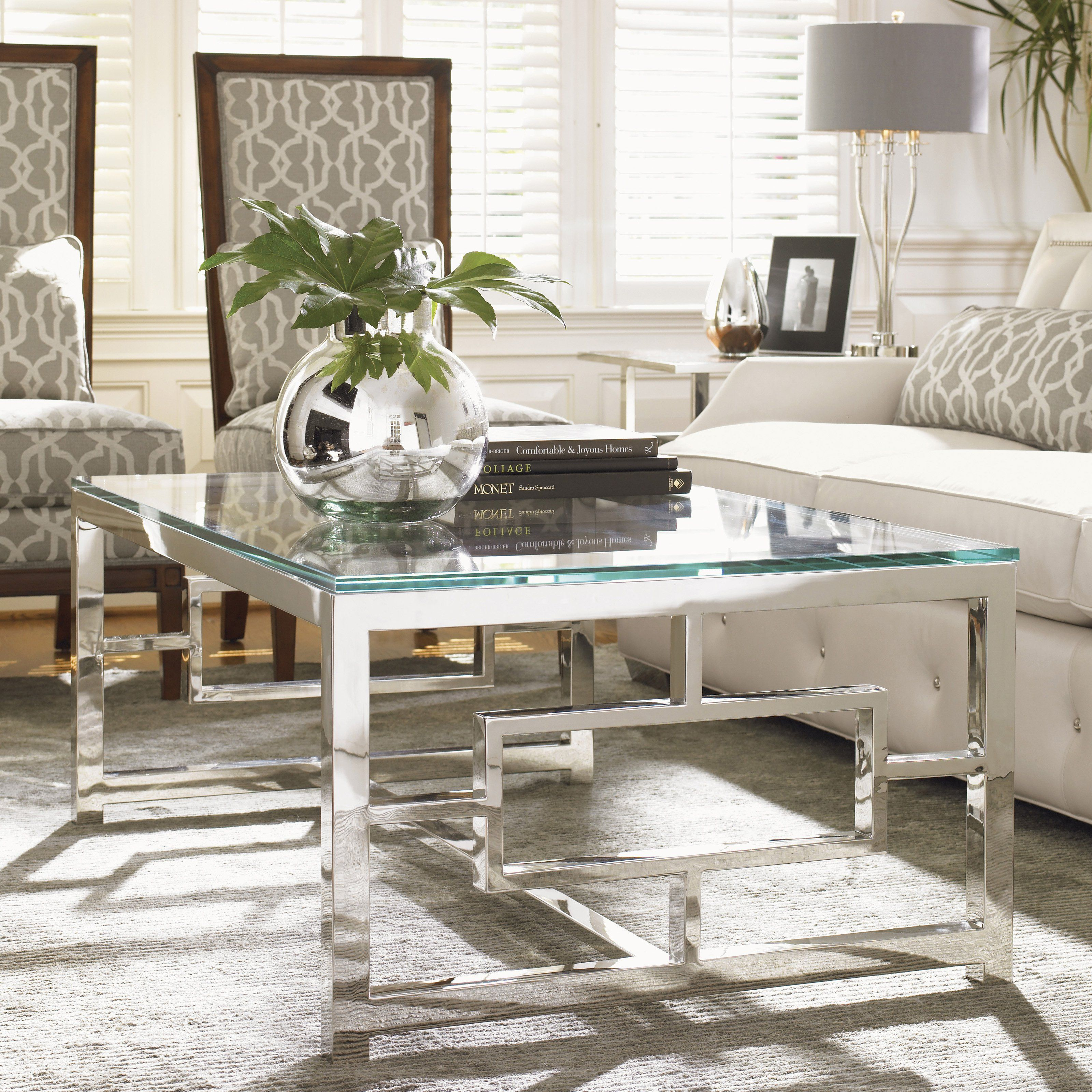 Glass coffee table in living room have to have it lexington home brands mirage russell rectangle