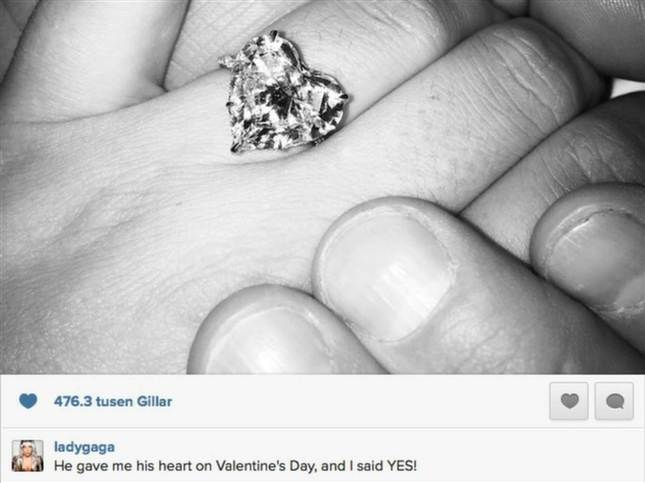 Lady Gaga engagement ring Heart shaped and with monogram
