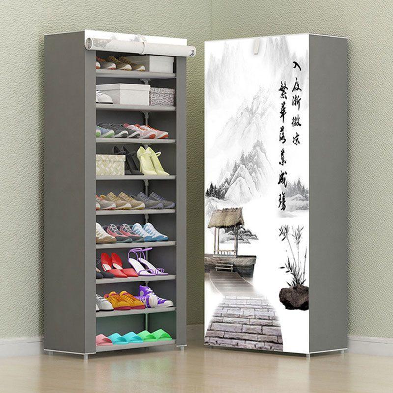 7 Schicht 8 Schicht 10 Schicht Nicht Gewebten Stoff Schuh Rack Folding Fabric Storage Schuhe Rack Diy Staub Shoe Shelf Diy Shoe Rack With Shelf Fabric Storage