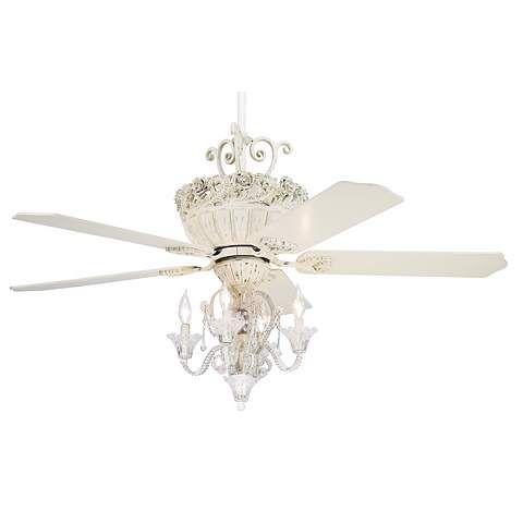 52 Casa Chic Rubbed White Ceiling Fan With 4 Light Kit 9t617 Lamps Plus Ceiling Fan Chandelier Chandelier Fan Ceiling Fan With Light