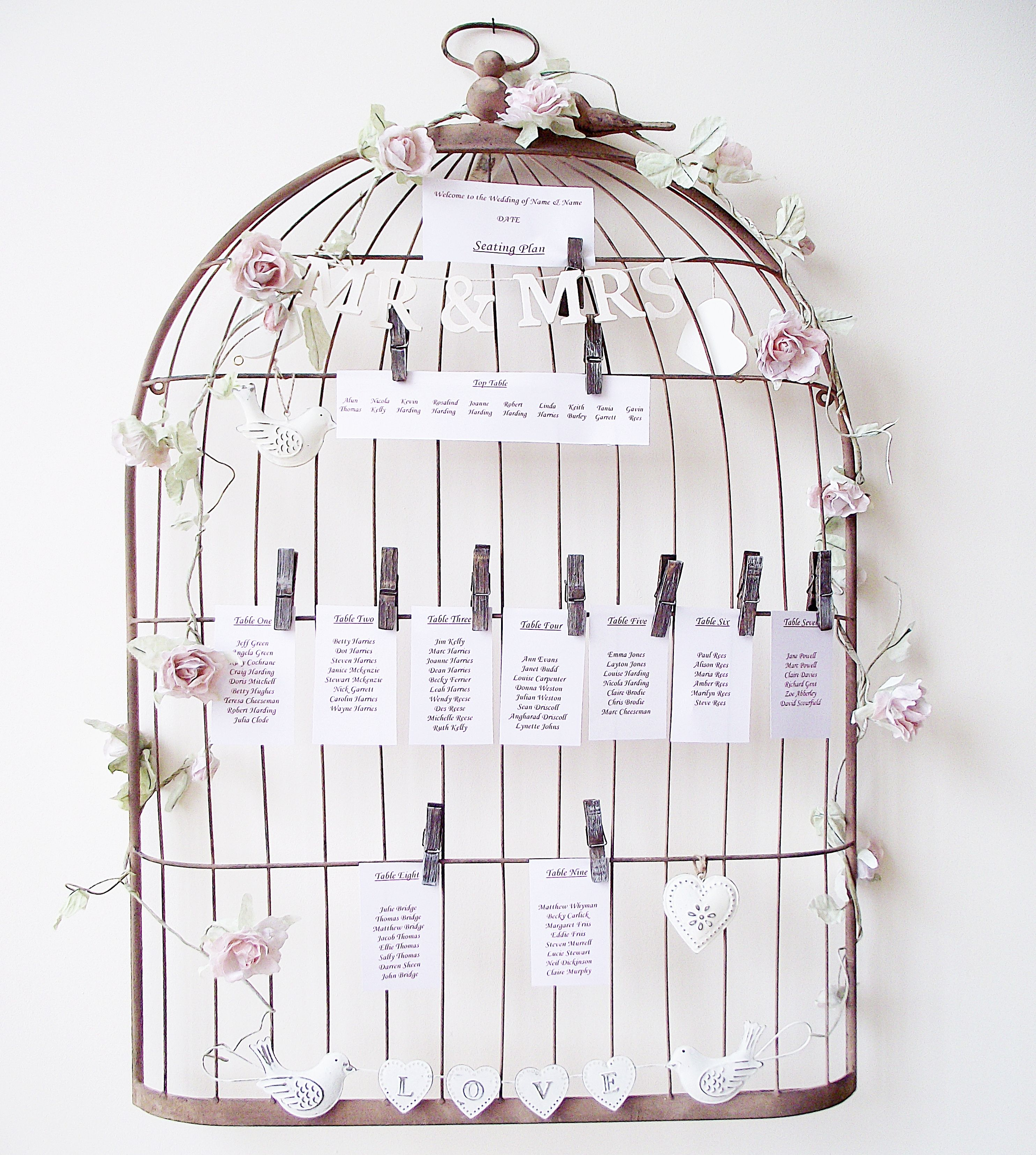 Rust effect bird cage Table Plan Holder by Big Little House