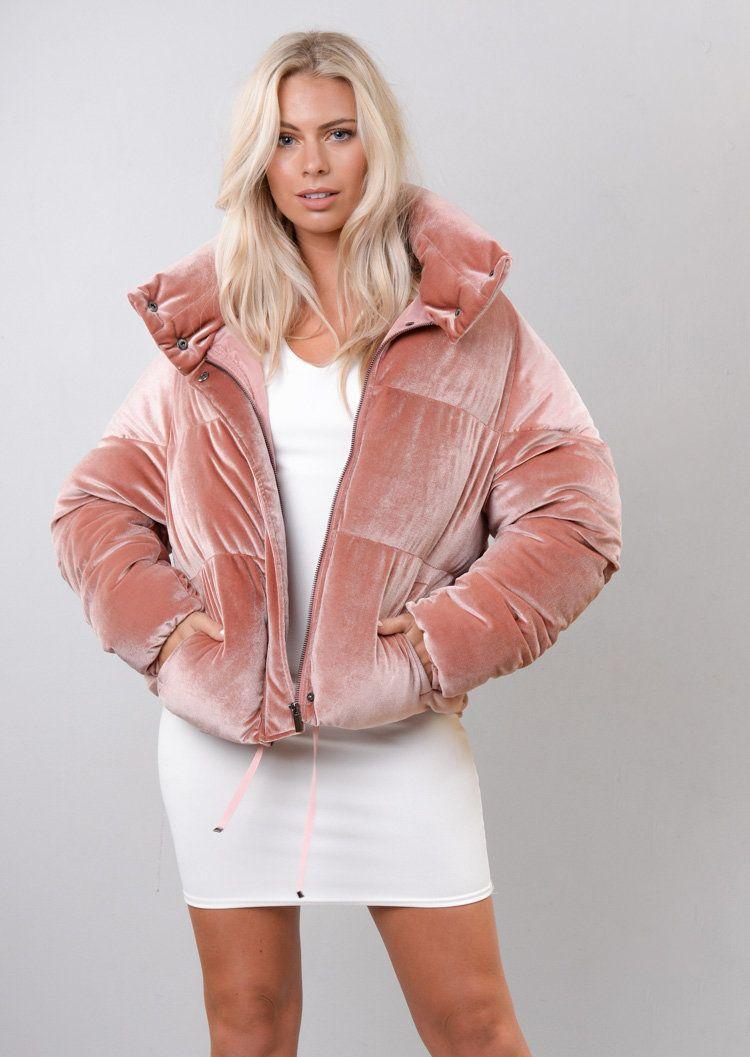 ead276e9e Velvet Cropped Puffer Jacket Coat Pink in 2019