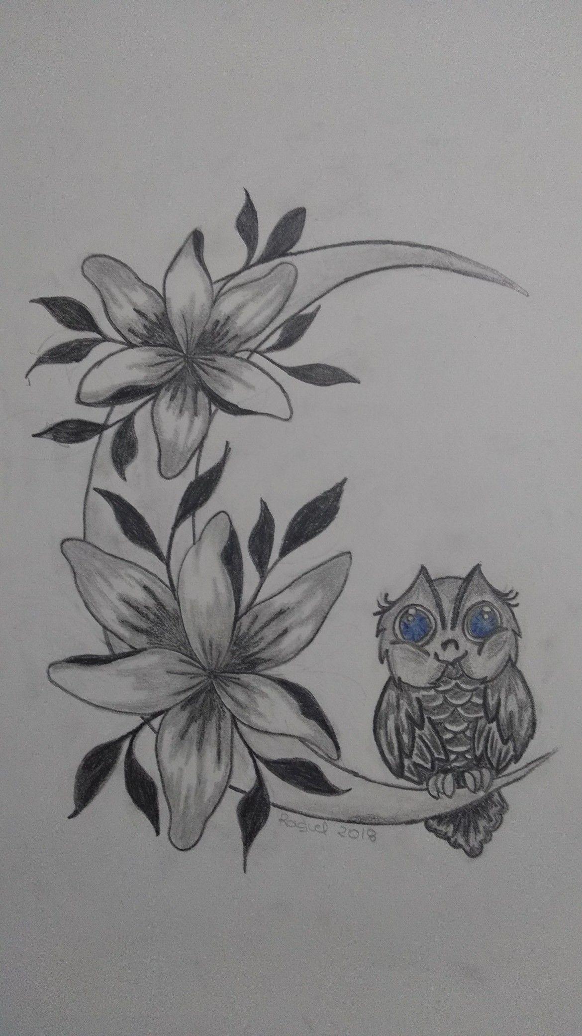 Dibujo A Lapiz Luna Con Flores Y Buhito Dibujos Flores A Lapiz Flores Dibujadas A Lapiz