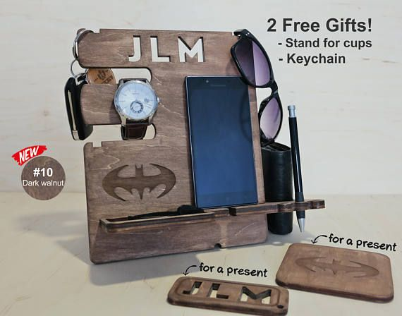 Gifts for Him Wood Docking Station Father\u0027s Day Dad \
