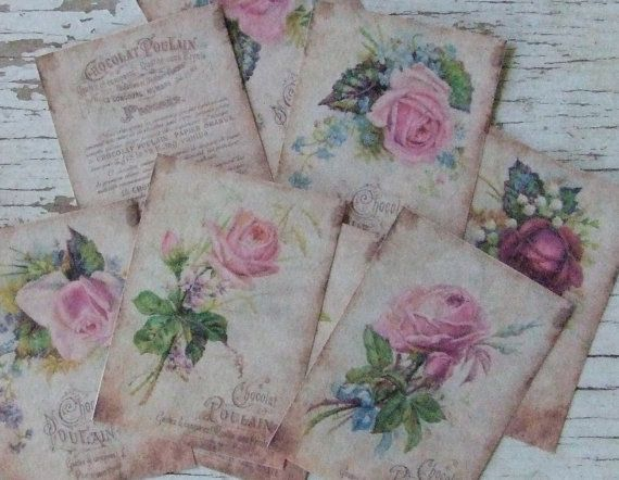 Mini notecards  small notecards  Chocolat and Roses  by dkshopgirl, $6.00