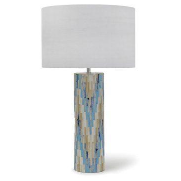 Check out this item at One Kings Lane! Mosaic Bone Chevron Table Lamp, Aqua