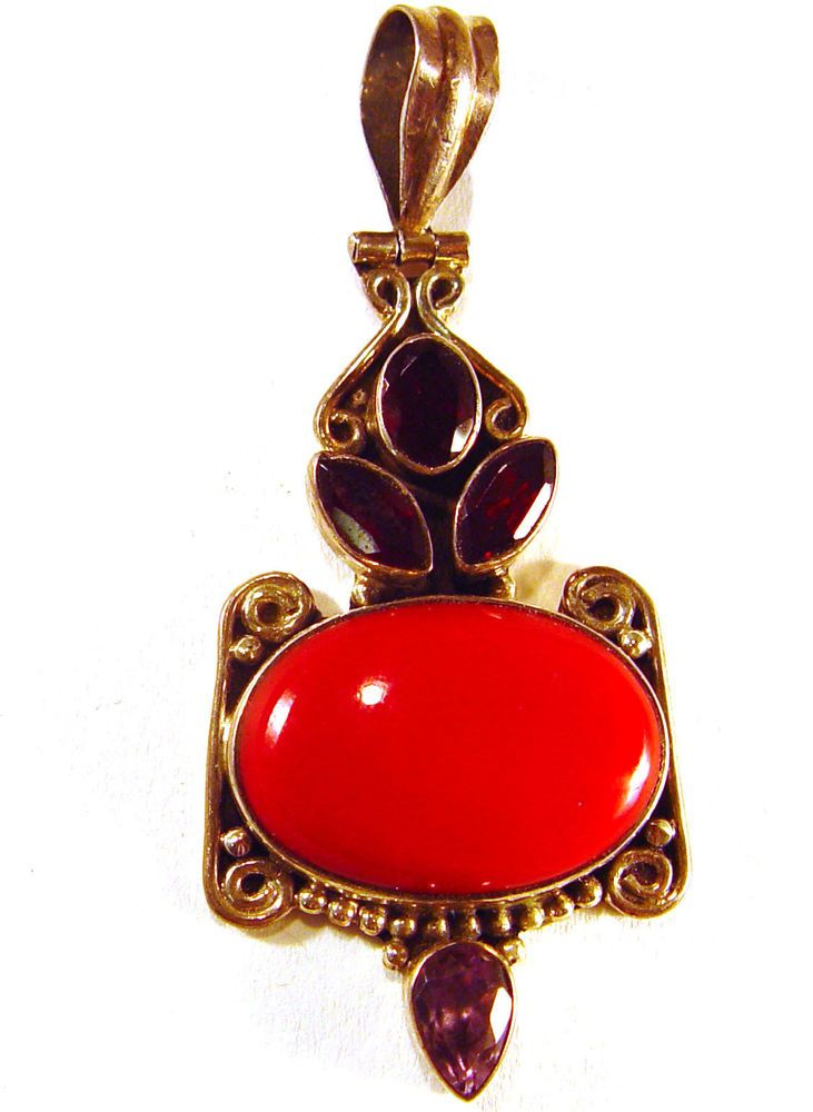 "Sterling silver pendant, coral, garnet, amethyst, 2 3/8"" x 1"", 11.68 Grams"