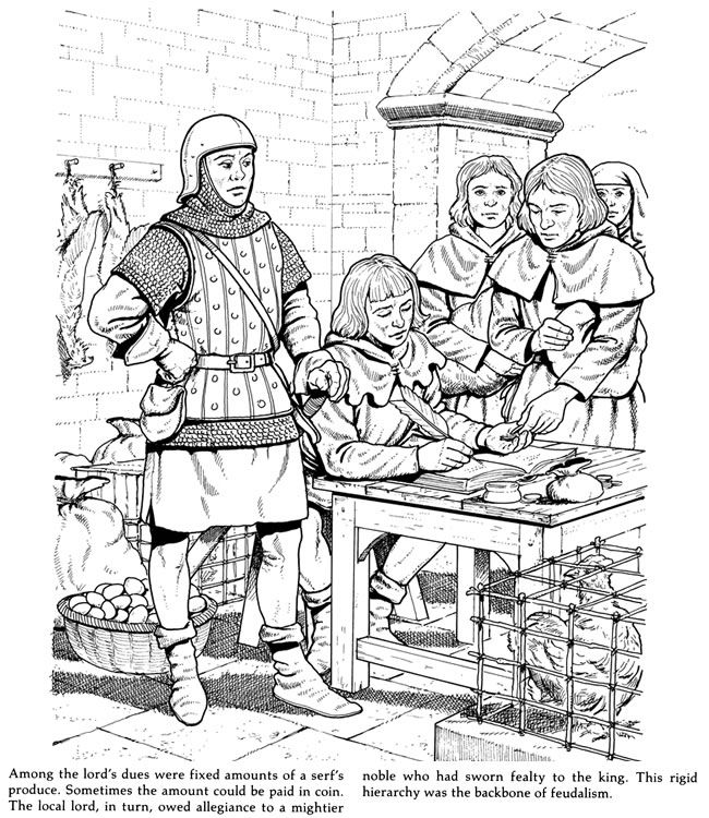 Life In A Medieval Castle And Village Coloring Book With Images