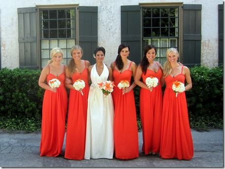 Image result for bridesmaids dresses bright red and bright orange