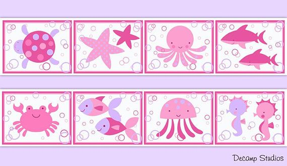 Sea Life Nursery Pink Purple Wallpaper Border Decals Wall