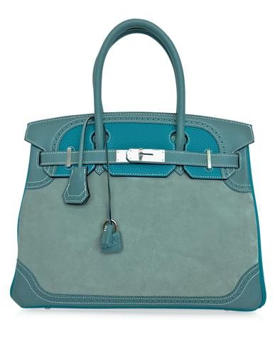 504622e2268 Guaranteed authentic Hermes Birkin 30cm bag features the rare limited  edition grizzly Ghillies.This exquisite bag.