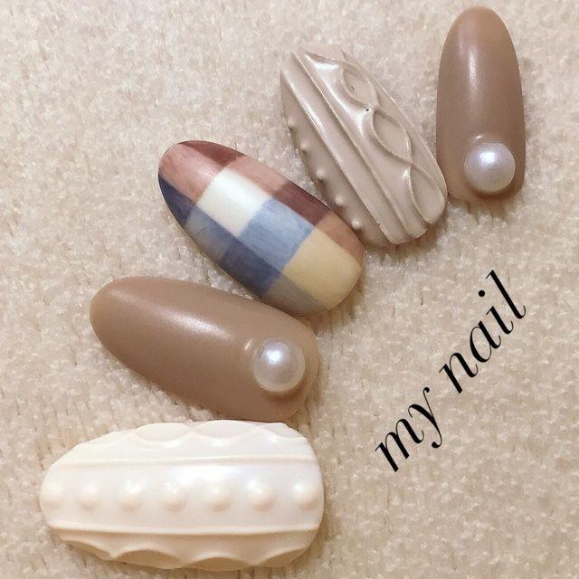 my_nailさんのミディアム,ブラウン,ニットネイル♪[1224228]   ネイルブック