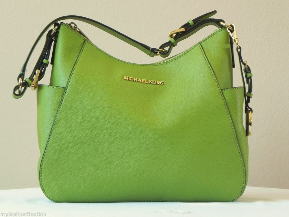 c6fb39a676 Michael Kors Jet Set Medium Travel Shoulder Bag Purse Lime Green COA Rare  NWT  MichaelKors  ShoulderBag