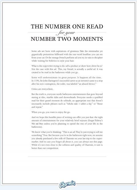 Charmin presents a useful long copy ad #longlivelongcopy