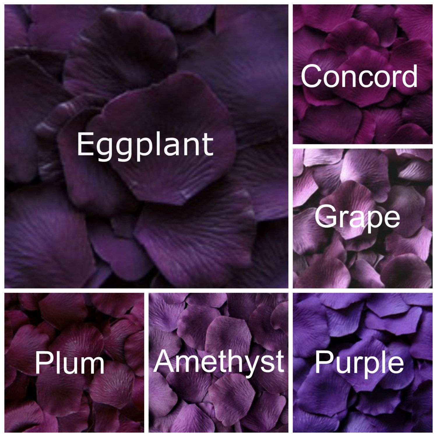 Dark Purple Silk Rose Petals, 300 petals