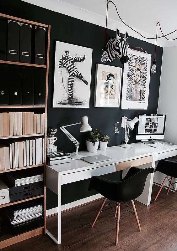 35 Black And White Decorating Ideas For Home Office Designs With
