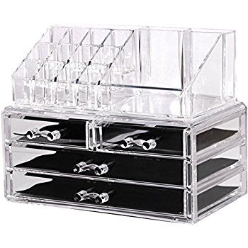 Amazon Com Ikee Design Acrylic Jewelry Amp Cosmetic Storage Display Boxes Two Pieces Set Hom Acrylic Makeup Drawers Cosmetic Organizer Makeup Organization
