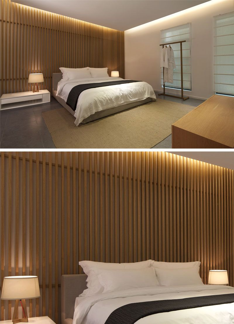 Bedroom Wall Design Idea Create A Wood Slat Accent Wall Feature Wall Bedroom Wood Slat Wall Bedroom Wall Designs