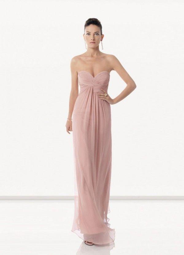 Vestido largo sencillo color rosa palo vestidos - Color rosa palo ...