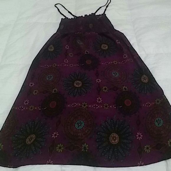 Cute lil Sundress Bright Purple with very bright colors X Xhilaration Dresses