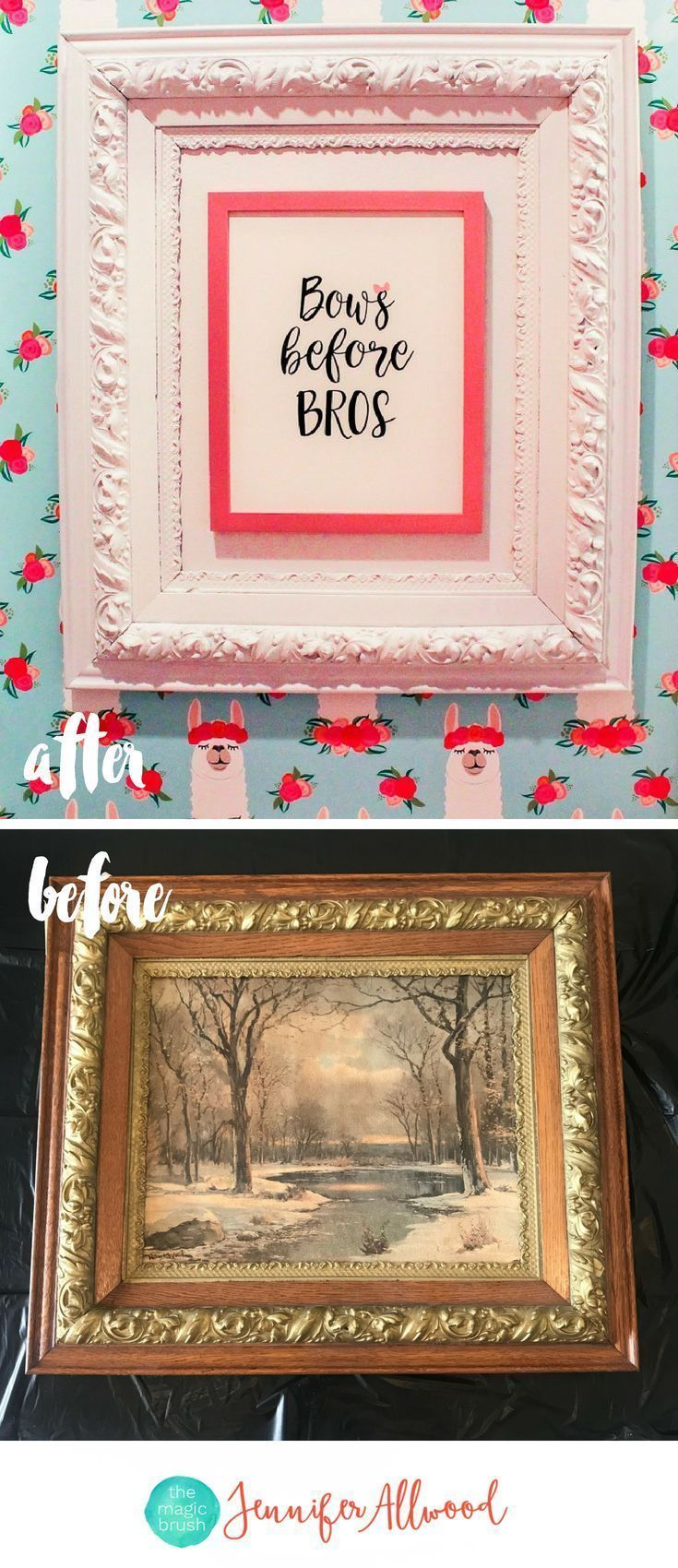 How to's : Thrift Store Frame Makeover - How to Frame Small Art Prints to be Beautiful and Oversized by Jennifer Allwood - Repurposed Picture Frame Ideas #diy #repurposed #walldecor #girlart #upcycled #hobbylobbyfinds Girls Bathroom Art -