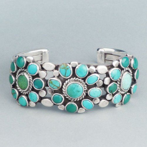 Silver and turquoise cluster bracelet, c. 1940
