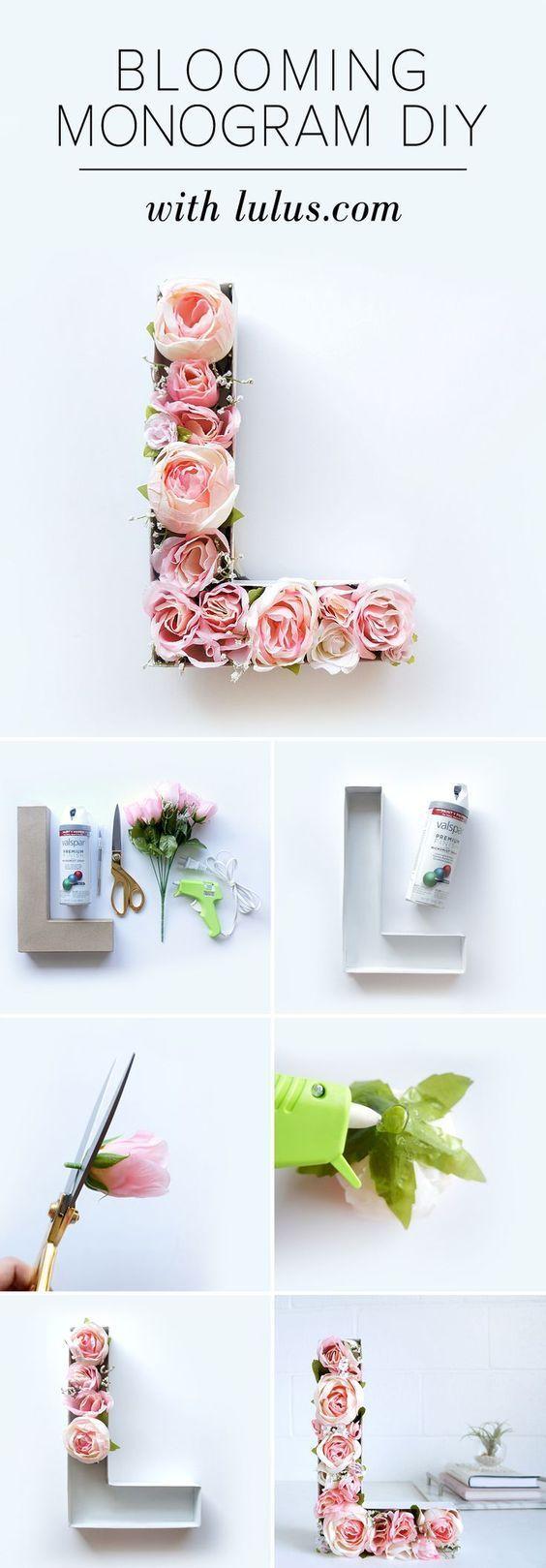 Blooming Monogram DIY | Blooming monogram, Crafts, Diy, crafts